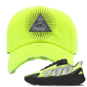 Yeezy 700 MNVN Phosphor Distressed Dad Hat | All Seeing Eye, Neon Lime