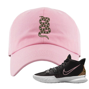 Kyrie 7 Ripple Black Dad Hat | Coiled Snake, Light Pink