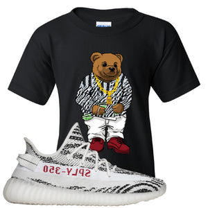 Yeezy Boost 350 V2 Zebra Biggie Bear Black Sneaker Hook Up Kid's T-Shirt