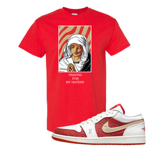 Air Jordan 1 Low Spades T Shirt | God Told Me, Red