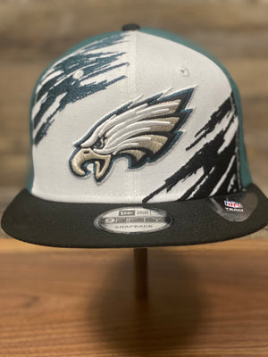 Vintage Football Snapback | Eagles Retro Snapback |  Philadelphia Eagles Throwback On Field 2020  | OSFM | Paintbrush front view of cap