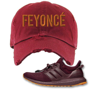 Feyonce Maroon Distressed Dad Hat to match Ivy Park X Adidas Ultra Boost Sneaker