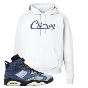 Jordan 6 Washed Denim Hoodie | White, Chiraq