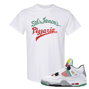 Jordan 4 WMNS Carnival Sneaker White T Shirt | Tees to match Do The Right Thing 4s | Sal's Famous Pizzeria