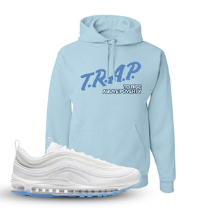 Air Max 97 White/Ice Blue/White Sneaker Light Blue Pullover Hoodie | Hoodie to match Nike Air Max 97 White/Ice Blue/White Shoes | Trap to Rise Above Poverty