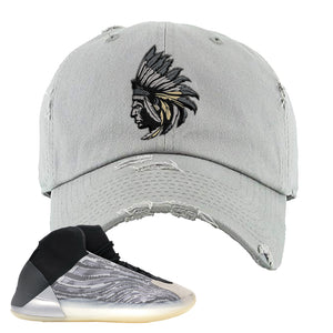 Yeezy Quantum Distressed Dad Hat | Light Gray, Indian Chief