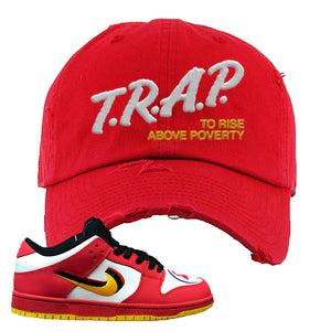 Nike Dunk Low Vietnam 25th Anniversary Distressed Dad Hat | Trap To Rise Above Poverty, Red