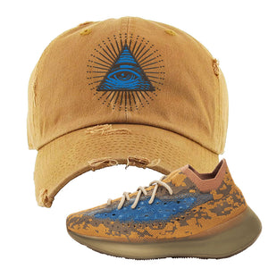 Yeezy Boost 380 'Blue Oat' Distressed Dad Hat | Timber, All Seeing Eye