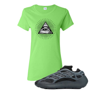 Yeezy Boost 700 V3 Alvah Sneaker Neon Green Women's T Shirt | Women's Tees match Adidas Yeezy Boost 700 V3 Alvah Shoes | All Seeing Eye