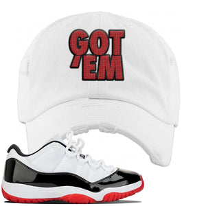 Jordan 11 Low White Black Red Sneaker White Distressed Dad Hat | Hat to match Nike Air Jordan 11 Low White Black Red Shoes | Got Em