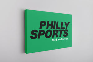 Bleed Green Canvas | Philly Sports We Bleed Green Kelly Green Wall Canvas the front of this canvas has the we bleed green design on it