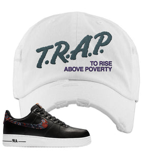 Air Force 1 Low Black Floral Distressed Dad Hat | Trap To Rise Above Poverty, White