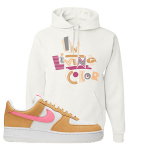 Nike Air Force 1 Pink Orange Hoodie | In Living Color, White