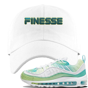 WMNS Air Max 98 Bubble Pack Sneaker White Dad Hat | Hat to match Nike WMNS Air Max 98 Bubble Pack Shoes | Finesse