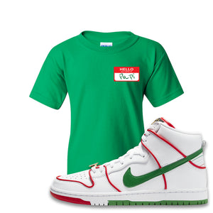 Paul Rodriguez's Nike SB Dunk High Sneaker Green Kid's T-Shirt | Kid's Tee to match Paul Rodriguez's Nike SB Dunk High Shoes | Hello My Name Is Papi