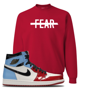 Air Jordan 1 Fearless Fear Crossed Out Red Made to Match Crewneck Sweatshirt