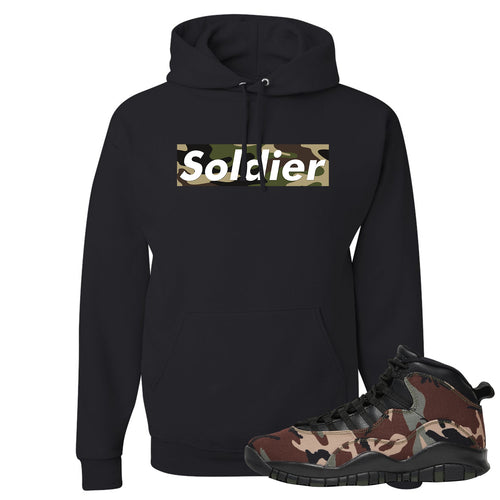 Jordan 10 Woodland Camo Sneaker Matching Soldier Camo Box Logo Black Pullover Hoodie