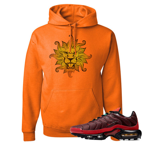 Printed on the front of the air max plus sunburst sneaker matching safety orange pullover hoodie is the vintage lion head logo