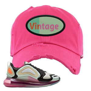 Air Max 720 WMNS Black Fossil Sneaker Pink Distressed Dad Hat | Hat to match Nike Air Max 720 WMNS Black Fossil Shoes | Vintage Oval