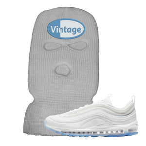 Air Max 97 White/Ice Blue/White Sneaker Light Gray Ski Mask | Winter Mask to match Nike Air Max 97 White/Ice Blue/White Shoes | Vintage Oval