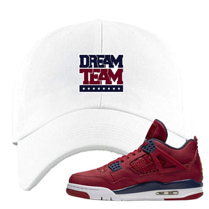 Jordan 4 FIBA Dream Team White Sneaker Matching Dad Hat