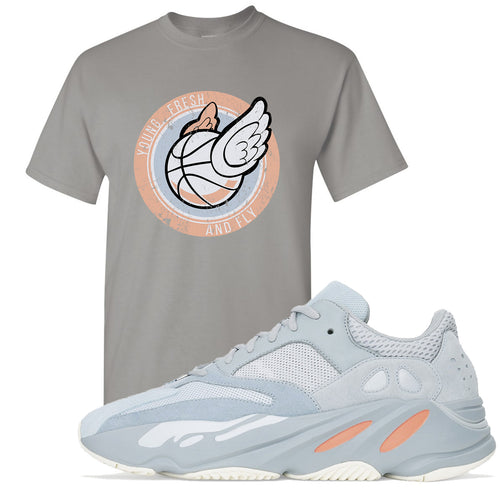 Yeezy Boost 700 Inertia Young Fresh and Fly Sneaker Matching Light Gray Tee Shirt