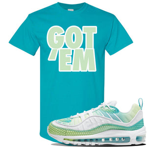 WMNS Air Max 98 Bubble Pack Sneaker Tropical Blue T Shirt | Tees to match Nike WMNS Air Max 98 Bubble Pack Shoes | Got Em