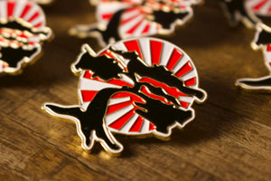 Foot Clan Enamel Pin | Foot Clan Online Store Enamel Pin | Bonsai Tree Logo Pin close up shot