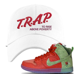 SB Dunk High 'Strawberry Cough' Dad Hat | White, Trap To Rise Above Poverty