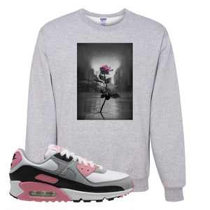 WMNS Air Max 90 Rose Pink Concrete Rose Ash Crewneck Sweatshirt To Match Sneakers