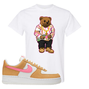 Nike Air Force 1 Pink Orange T-Shirt  | Sweater Bear, White
