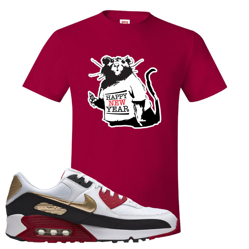 Air Max 90 Chinese New Year T Shirt | Deep Red, Happy New Year Rat
