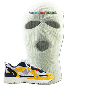827 Abzorb Multicolor Yellow Aime Leon Dore Sneaker White Ski Mask | Winter Mask to match 827 Abzorb Multicolor Yellow Aime Leon Dore Shoes | Runner's Aren't Normal