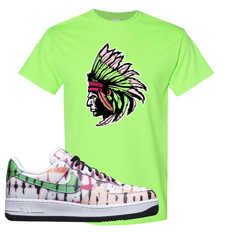 Air Force 1 Low Multi-Colored Tie-Dye T Shirt | Neon Green, Indian Chief