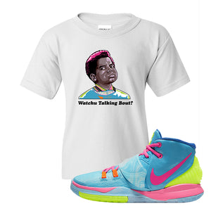 Kyrie 6 Pool Kids T Shirt | White, Watchu Talkin Bout