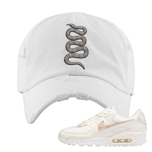 Air Max 90 Beige Snakeskin Distressed Dad Hat | Coiled Snake, White