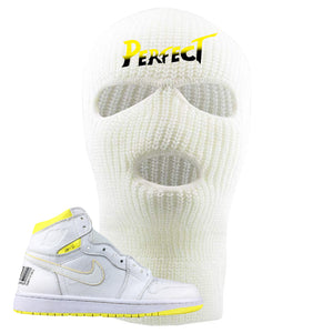 Air Jordan 1 First Class Flight Street Fight Perfect White Sneaker Matching Ski Mask