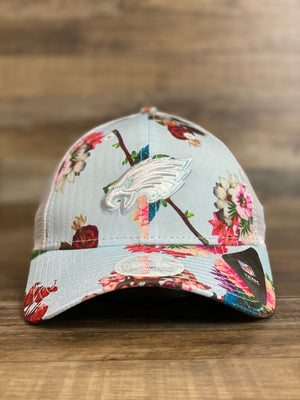 front view of Philadelphia eagles floral  women's Mesh trucker hat | birds Mesh back trucker flower snapback hat