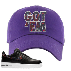Air Force 1 Low Black Floral Dad Hat | Got Em, Purple