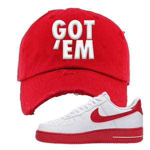 Air Force 1 Low Red Bottoms Distressed Dad Hat | Red, Got Em