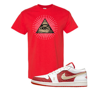 Air Jordan 1 Low Spades T Shirt | All Seeing Eye, Red
