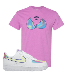 Air Force 1 Low Easter T Shirt | Heather Radiant Orchid, Broken Egg