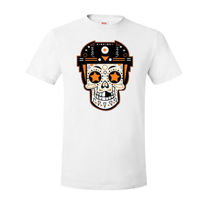 Broad Street Bullies Skull T-Shirt | Broad Street Bullies Candy Skull White Tee Shirt the front of this shirt has the bullies skull candy log