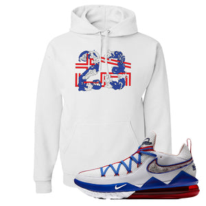 LeBron 17 Low Tune Squad Sneaker White Pullover Hoodie | Hoodie to match Nike LeBron 17 Low Tune Squad Shoes | 23X45