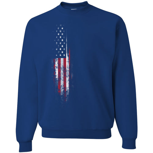 Standard Issue Distressed American Flag Banner Blue Grunt Life Crewneck Sweatkr