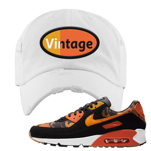 Air Max 90 Orange Camo Distressed Dad Hat | Vintage Oval, White