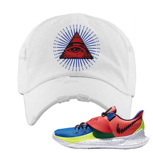 Kyrie Low 3 NY vs NY Distressed Dad Hat | All Seeing Eye, White