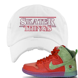 SB Dunk High 'Strawberry Cough' Distressed Dad Hat | White, Skater Things