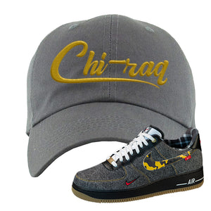 Air Force 1 Low Plaid And Camo Remix Pack Dad Hat | Chiraq, Dark Gray