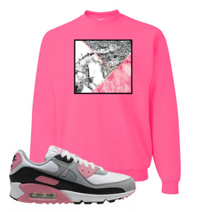 WMNS Air Max 90 Rose Pink Marble Mosaic Neon Pink Crewneck Sweatshirt To Match Sneakers